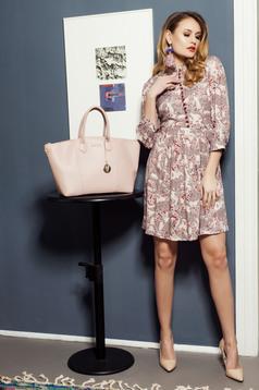 Rózsaszínű PrettyGirl lenge anyag virágmintás ruha