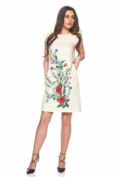 Krém Fofy virágmintás csíkos ruha