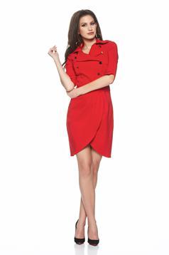 Piros Artista átfedéses ruha gombokkal zárható ruha