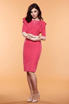 Pink LaDonna ruha gyöngyös díszítés fodrok a mellrészen