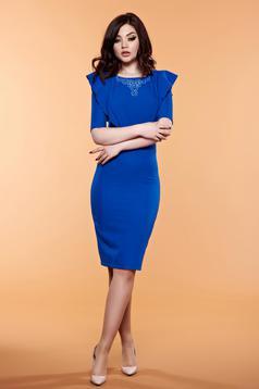 Kék LaDonna ruha gyöngyös díszítéssel fodrokkal a mellrészen