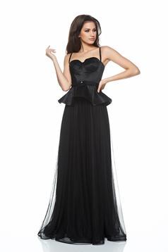 Fekete Ana Radu estélyi ruhák ruha fűzős derekán fodros