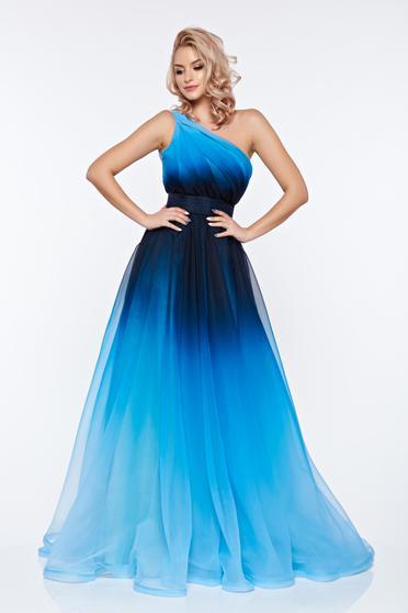 Kék Ana Radu ruha estélyi ruhák egy vállas harang