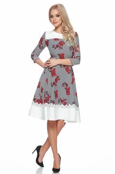 Piros LaDonna a-vonalú csíkos virágmintás ruha