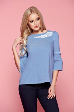 Kék Fofy női ing hímzett betétekkel harang ujjakkal