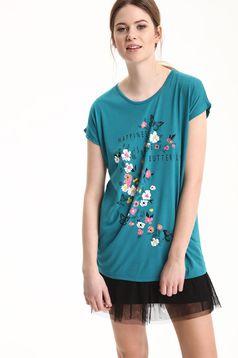 Türkiz Top Secret hétköznapi póló virágmintás