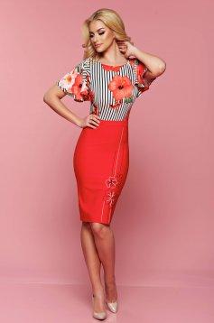 Piros LaDonna midi rövid ujjú virágmintás ruha