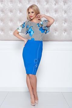 Kék LaDonna midi rövid ujjú virágmintás ruha