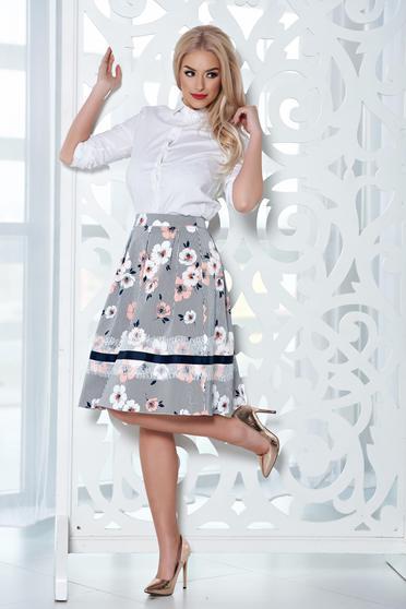 Barackvirágszínű LaDonna szoknya a-vonalú midi virágmintás