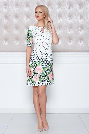 Fehér LaDonna bő szabású grafikai mintás ruha