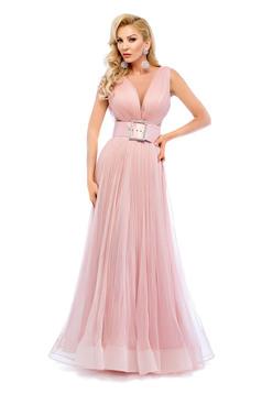 Rózsaszínű Ana Radu estélyi ruhák ruha övvel ellátva