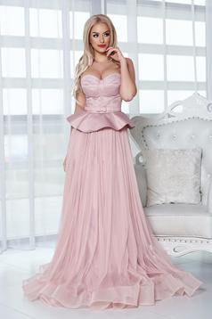 Rózsaszínű Ana Radu estélyi ruhák ruha fűzős derekán fodros