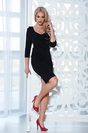 Fekete StarShinerS midi elegáns ruha dekoltázzsal