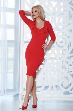 Piros StarShinerS midi elegáns ruha dekoltázzsal