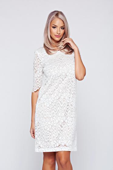 Fehér StarShinerS ruha csipkés anyagból masni alakú kiegészítővel
