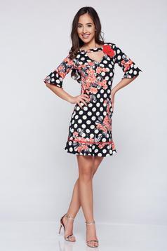 Fekete LaDonna bő szabású pöttyös ruha virágos díszekkel