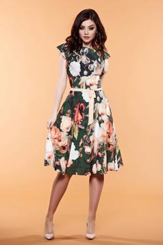Zöld LaDonna virágmintás díszítéssel ruha övvel ellátva