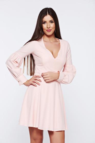 Rózsaszínű Artista harang alakú ruha v-dekoltázzsal