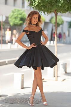 Rövid fekete alkalmi Artista ruha szatén anyagból