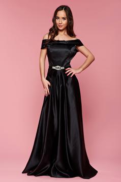 Fekete Artista ujjatlan estélyi ruha szatén anyagból