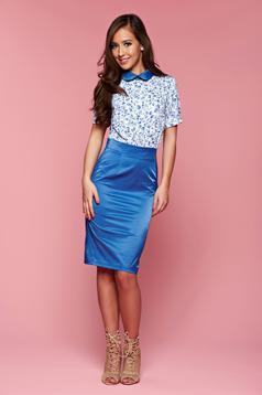 Kék hétköznapi PrettyGirl ruha kerek gallér