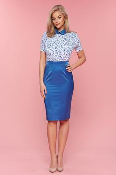 Kék hétköznapi PrettyGirl ruha kerek gallérral