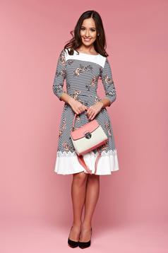 Barackvirágszínű LaDonna a-vonalú csíkos virágmintás ruha