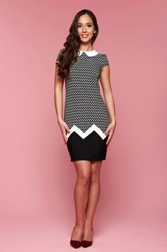 Fekete hétköznapi bő szabású galléros Fofy ruha