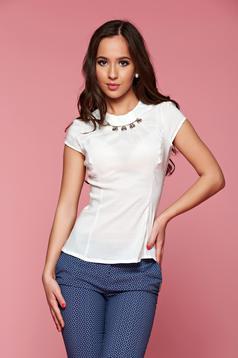 Bézs Fofy strassz köves pamutból készült női ing