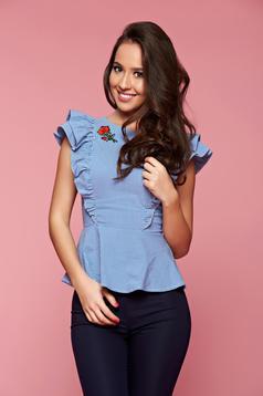 Kék Fofy női ing fodrozott ujjakkal hímzett betétekkel