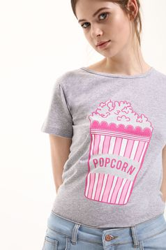 Szürke Top Secret póló alkalmi pamutból készült