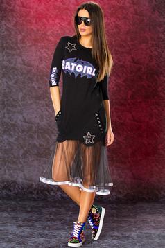 Fekete Ocassion feliratos hétköznapi ruha