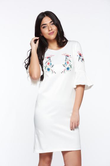 Fehér StarShinerS elegáns hímzett ruha harang ujjakkal