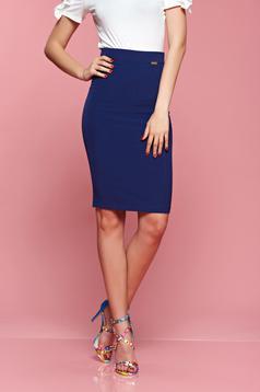 Kék PrettyGirl magas derekú testhez simuló szoknya
