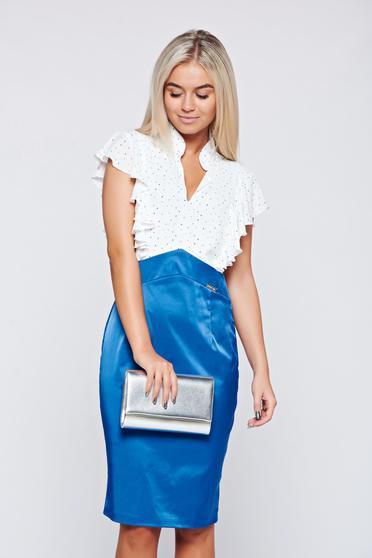 Kék PrettyGirl elegáns ruha v-dekoltázzsal