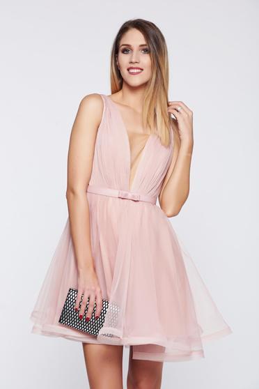 Rózsaszínű Ana Radu a-vonalú alkalmi tűll ruha