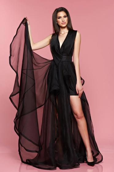 Fekete Ana Radu alkalmi ruha kivágott hátrésszel