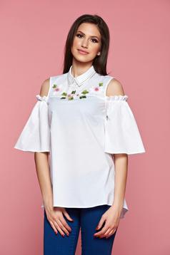 Fehér LaDonna női ing kivágott vállrésszel hímzett betétekkel