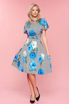 Kék LaDonna függőleges csíkos a-vonalú virágmintás ruha