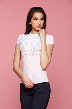 Rózsaszínű Fofy pamutból készült női ing kerek gallér