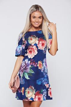 Lila Fofy virágmintás ruha fodrok a ruha alján
