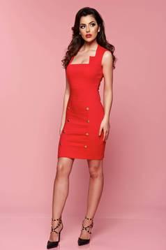 Piros Fofy hétköznapi ruha gomb kiegészítőkkel