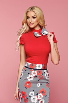 Piros Fofy rövid ujjú női ing masni alakú kiegészítővel