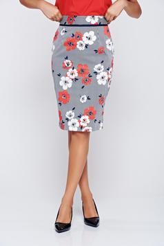Piros Fofy midi pamutból készült virágmintás szoknya