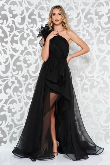 Fekete Ana Radu egy vállas tüll estélyi ruha