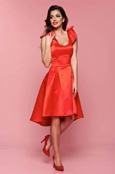 Piros Artista aszimetrikus ruha szivacsos, push-up-os mellrész masnikkal van ellátva
