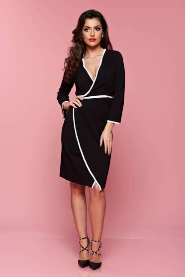 Fekete háromnegyedes ujjú átfedéses PrettyGirl ruha