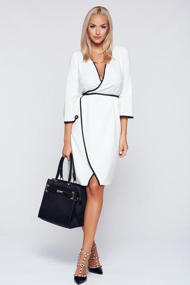 Fehér háromnegyedes ujjú átfedéses PrettyGirl ruha