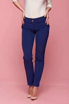 Kék PrettyGirl nadrág irodai kónikus zsebes