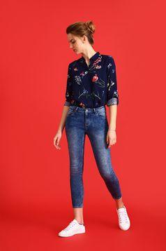 Sötétkék Top Secret női ing bő szabás virágmintás díszítéssel
